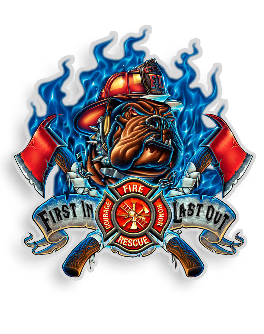 FIREMAN- FIRST IN LAST OUT WITH FIREDOG- 3M WINDOW DECAL...HIGH QUALITY--AWESOME - $10.99 - $25.99