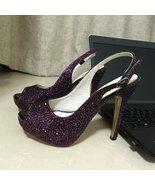 Purple Crystal Slingback Heels High Platform Sandals Women Shoes for Wed... - $125.00