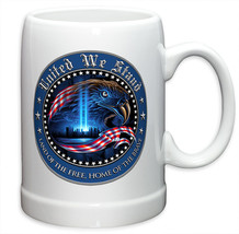 UNITED WE STAND TRIBUTE WITH AMERICAN EAGLE- BLUE-  20 OZ STONEWARE COFF... - $22.95+