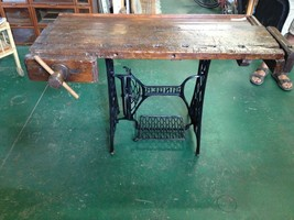 Antique Wooden Work Bench Table w/ Wooden Vice & Singer Sewing Bottom - ... - $695.75