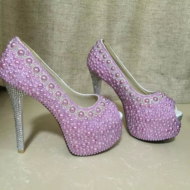 Lavender wedding shoes high light purple peep toe bridal shoes silver rhinestone
