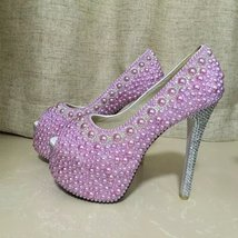 Lavender wedding shoes high light purple peep toe bridal shoes silver rhinestone image 3