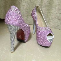 Lavender wedding shoes high light purple peep toe bridal shoes silver rhinestone image 4