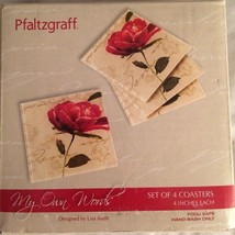 "Pfaltzgraff My Own Words 4-pc.Coaster Set 4"" Food Safe Glass Footed Floral - $19.80"