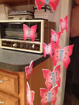 Hot Pink & Pink Porcelain Butterfly Butterflies Hanging Wind Chimes Chandelier