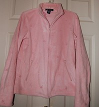 DENIM & CO Light Pink FLEECE JACKET Size X-Small Embroidered Pockets Ful... - $21.78