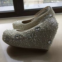 "wedge bridal shoes 3 1/2"" ankle bands wedding heels ivory pearl bling shoes  - $135.00"