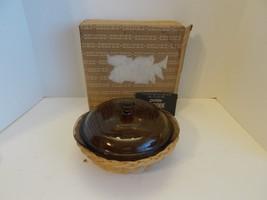 Corning Pyrex 1.5 L Covered Casserole  & Rattan  Basket # 023  - $18.71