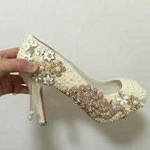 Peacock Bridal Shoes Wedding Bride Heels Open Toe Pumps White Flower Ivo... - $145.00