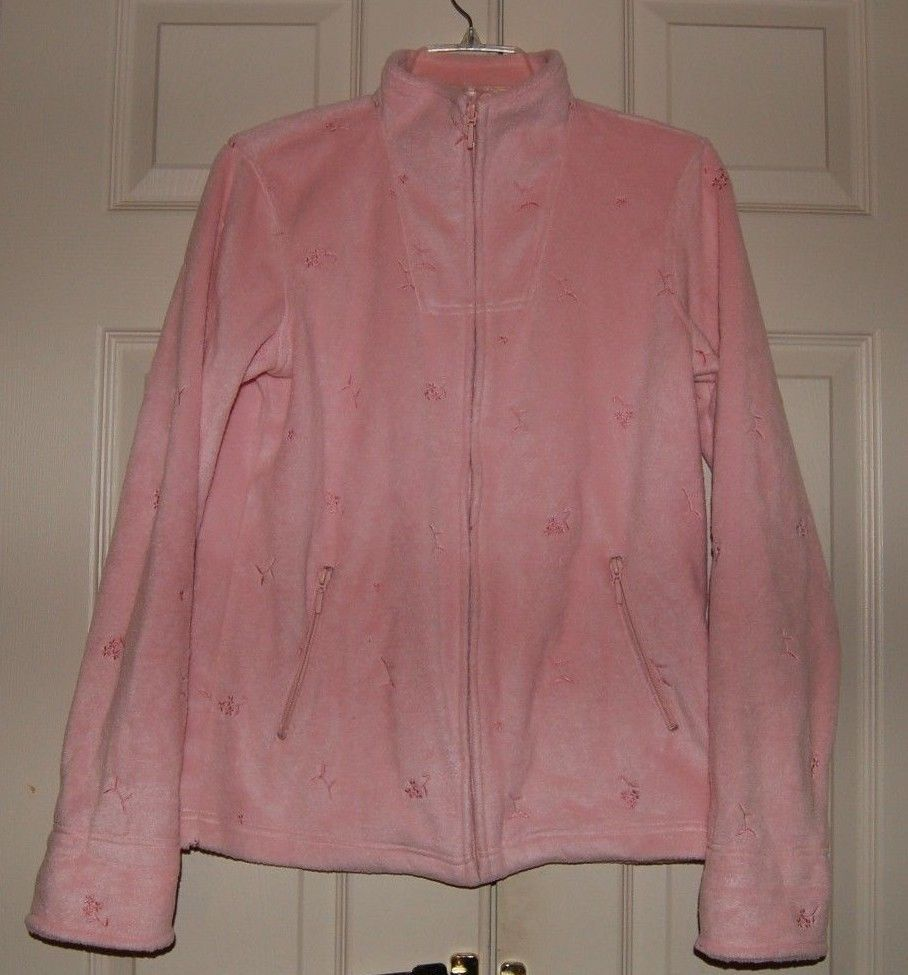 DENIM & CO Light Pink FLEECE JACKET Size X-Small Embroidered Pockets Full Zip