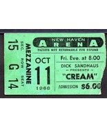 CREAM Ticket Stub New Haven Arena Oct 11,1968 Eric Clapton,Bruce,Baker V... - $123.75