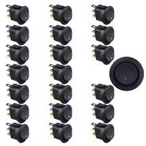20 X Car Boat Round Dot Blue LED Rocker Indicator Switch 3 Pin ON/OFF 12V Sales - $7.28