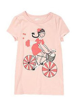 Crazy 8 Girls Tee Shirt Sz S 5 6 Graphic Bicyle Shine Cat  Cotton Short ... - $12.88