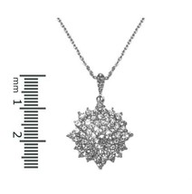GLITZY Pave & 4M Center AAA Cubic Zirconia Snowflake Rhodium Necklace - $23.76