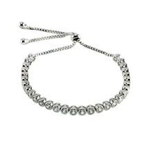 Bezel Set Round AAA Cubic Zirconia Bolo Tennis Bracelet-One Size ADJ - $34.64