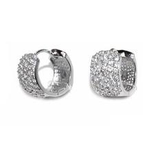 Pave Wide Front Rhodium AAA Cubic Zirconia Huggie Hoop Earrings - $29.69