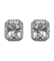 Emerald Cut Halo Cubic Zirconia Rhodium Stud Earrings 15 Mm Of Bling - $28.71