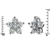 Dainty Pave Clear AAA CZ Center Post Star Stud Earrings Rhodium Plated - $13.86