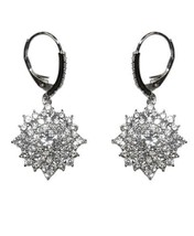 5 Ctw Pave & 7 M Center Cubic Zirconia Snowflake Lever Hoop Earrings  40 By 20 Mm - $39.59
