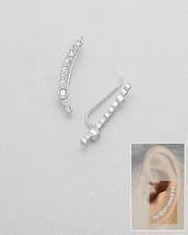 14 K White Vermeil Bezel Set Ear Pin Aaa Cubic Zirconia Cuff Earrings Ss/925 - $29.69