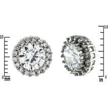 Glitzy Pave Clear AAA CZ 10MM Center Post Halo Stud Earrings Rhodium Plated - $19.79