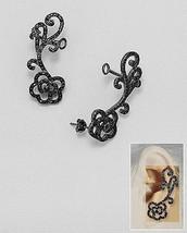 18 K Black Vermeil Bezel+Pave Aaa Cz Filigree Rose Ear Cuff Earrings Ss/925 - $79.19
