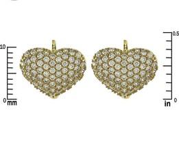Glitzy 15mm Wide Front Heart AAA Cubic Zirconia GEP Hoop Huggie Earrings - $21.78