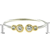 Bezel Set Clear AAA Cubic Zirconia Cable Two Tone Bangle Bracelet 1 Size - $24.74