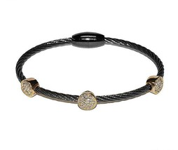 Two Tone 3 Pave Circles AAA CZ Cable Bangle Bracelet With Magnetic Lock-HE - $19.79