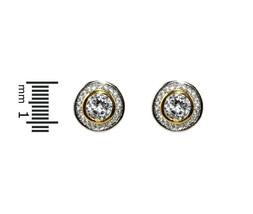 GLITZY-2 Tone Bezel Set AAA Cubic Zirconia Halo Stud Earrings-12mm - $24.74