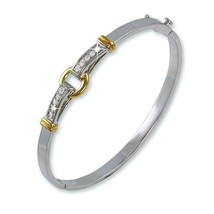 TwoTone Channel Set AAA Cubic Zirconia Buckle Front Bangle Bracelet-High... - $39.59