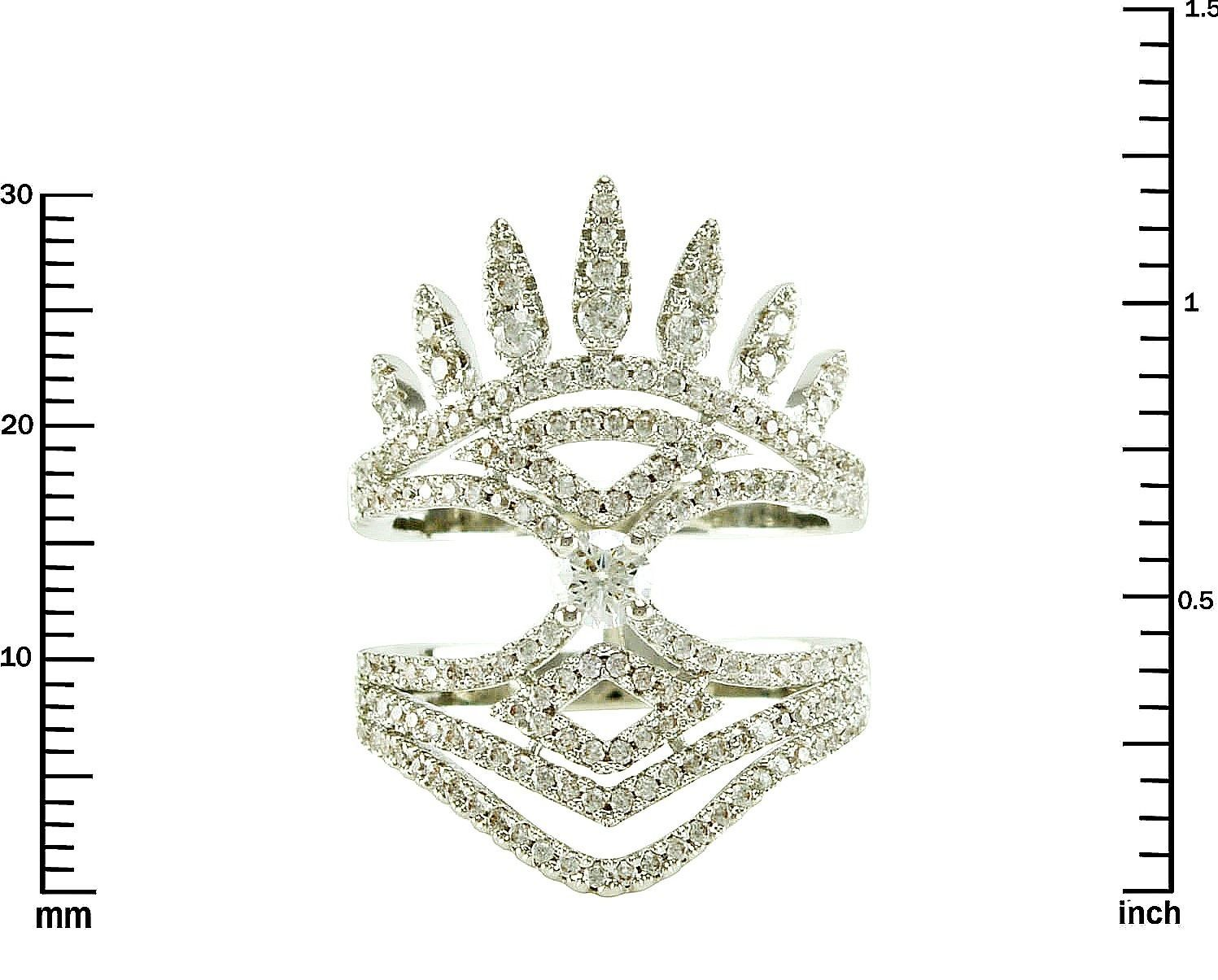Primary image for Pave Clear AAA Cubic Zirconia Crown Style Knuckle Ring-Rhodium Plated-Gorgeous