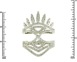 Pave Clear AAA Cubic Zirconia Crown Style Knuckle Ring-Rhodium Plated-Go... - $42.00