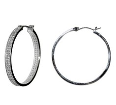 Glitzy Pave 2 Row All Around Cubic Zirconia Hoop Earrings 35 Mm - $44.55