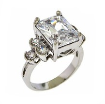 5CTW Clear Radiant Emerald Cubic Zirconia+Clear CZ Sides Rhodium Ring - $29.99