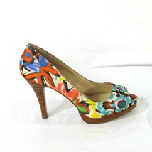 Nine West Danee Open Toe Heels Pumps Women Size 6 M Floral Faux Wood Heel - $29.69