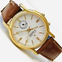 Vintage Perry Ellis America Women's 33mm Alarm Watch Brown Leather APE13... - $34.60