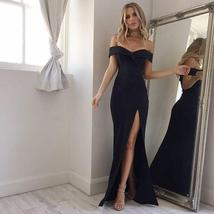 Summer New Arrival Off Shoulder Sexy Black Pink Dress 2018 Sexy Split The Fork D - $18.99+