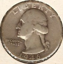 Washington Quarter 1946-D  VG Cut - $13.04