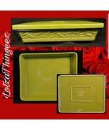 EUC Temp-tations Green Holly Vine 5 Qt Lasagna Baker w Lid-it Black Wire... - $54.44