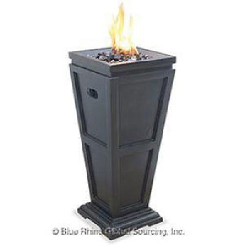 "Uniflame 28"" Tall 10,000 btu Propane Faux Slate Patio Deck Fire Column Fire Pit"