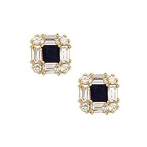 14K Yellow Gold 7MM Square Cut Prong Sapphire September Birthstone Stud ... - $93.05