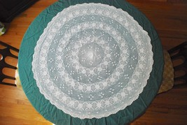 "Vintage Hand Crocheted Small ROUND Tablecloth Table Centerpiece - 39"" Di... - $68.80"