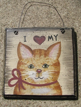 WD203 - I Love My Cat Wood Sign