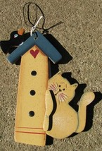 WD97- cat on Birdhouse Wood Hangs by Wire Wood  - $2.50