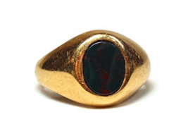 14K Yellow Gold Bloodstone Ring with Bezel Set Cabochon Gemstone Vintag... - €309,29 EUR