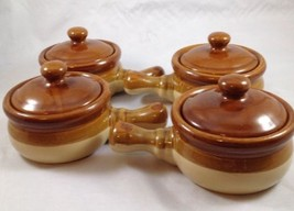 Set of 4 French Onion Soup Crocks/Chili Bowls With Lids & Handles Taiwan... - $30.84