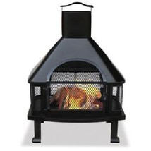 Uniflame Firehouse Firepit Grill Outdoor Patio Deck Wood Burning Fireplace  - $189.00