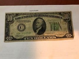 United States Hamilton $10 circulated banknote 1934 A #6 - $17.95