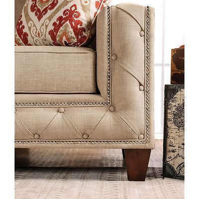 Clover Loveseat Beige Track Arm Contemporary Modern Design